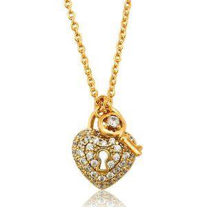 Key to My Heart 18KGP CZ Necklace